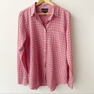 J. Crew Button Down Boy Checkered Shirt Sz 6
